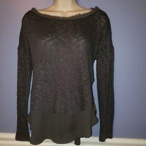 Deletta Anthropologie Nubby Circle Gray Sweater